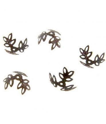 Calottes coupelles fleurs 3 pétales pour perles (50 pièces) - Cuivre