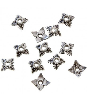 Calottes ornement perle 4 feuilles (10 pièces) - Gris