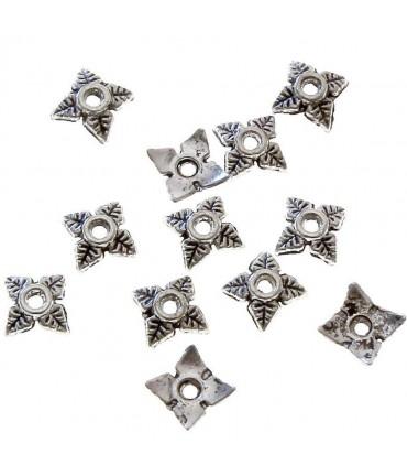 Calottes ornement perle 4 feuilles (50 pièces) - Gris