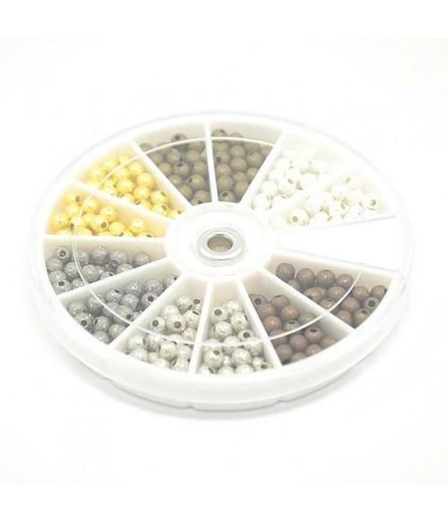 Boite de perles rondes Glitter 6 couleurs 4 mm (350 pièces)
