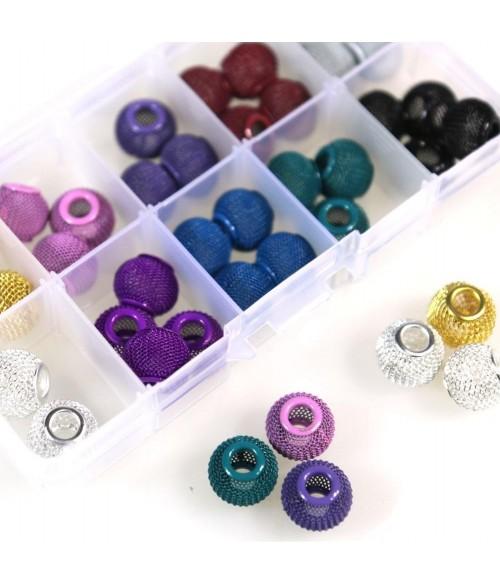 Kit de perles boules tressées de plusieurs couleurs