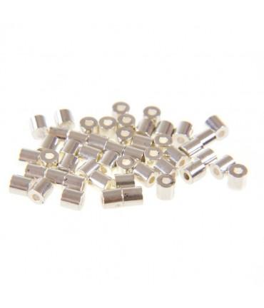 Perles tubes 4 mm (50 pièces) - Argenté