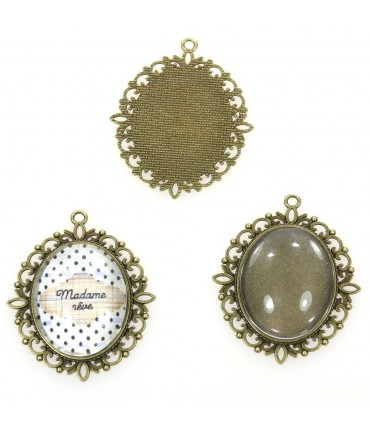 Kit cabochon verre et support baroque 61 x 48 mm (5 pièces)