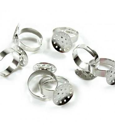 Support bague fimo réglable 18 mm tamis percé 16 mm (10 pièces) - Gris