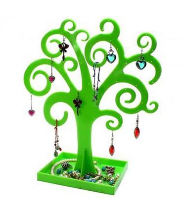 Arbre à boucle d'oreille et bijoux Curly tree - Vert
