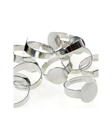 Supports de bagues réglables pour la création de bijoux fimo Tamis 12 mm (10 pièces) - Gris