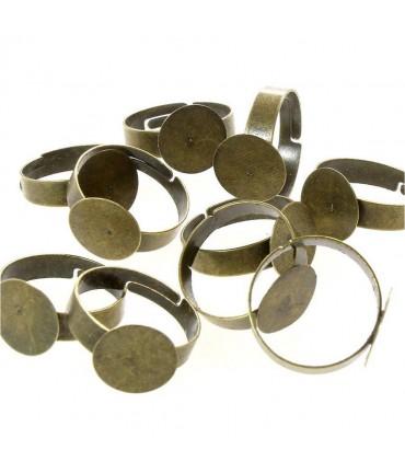 Supports de bagues réglables pour la création de bijoux fimo Tamis 12 mm (10 pièces) - Bronze