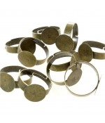 Supports de bagues réglables pour la création de bijoux fimo Tamis 12 mm (10 pièces)