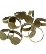Supports de bagues réglables pour la création de bijoux tamis 12 mm (10 pièces)