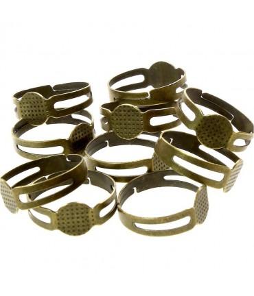 Supports de bagues réglables pour la création de bijoux tamis 8 mm (10 pièces) - Bronze