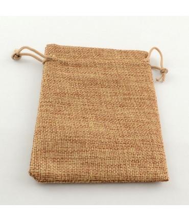Pochettes jute 13,5x9,5 cm avec cordon lot de 10