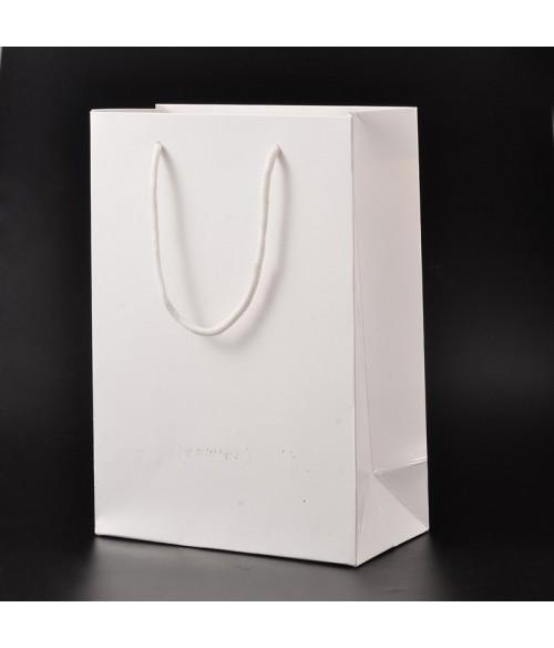 Sac papier blanc 28x20x10cm poignée cordon lot de 10