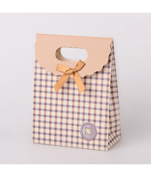 Pochette cadeau 16.7x12.5 cm carreaux lot de 12