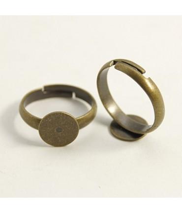 Support bague fimo enfant 14 mm tamis 8 mm (5 pièces) - Bronze