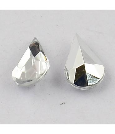 Strass bijoux acrylique Goutte 5 x 3 mm (50 pièces) - Cristal