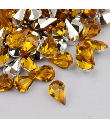 Strass bijoux acrylique Goutte 5 x 3 mm (50 pièces) - Doré