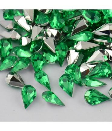 Strass bijoux acrylique Goutte 5 x 3 mm (50 pièces) - Vert