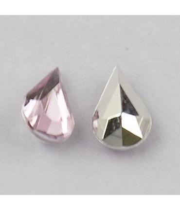 Strass bijoux acrylique Goutte 5 x 3 mm (50 pièces) - Rose pale