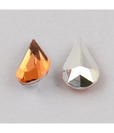 Strass bijoux acrylique Goutte 5 x 3 mm (50 pièces) - Orange