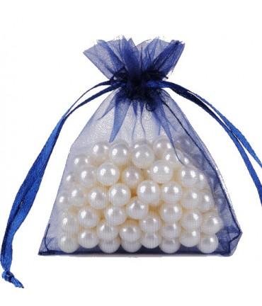 Sachets organza 8 x 11 cm pour bijoux ou dragées lot de 50 - Bleu royal