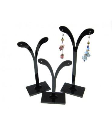 Présentoirs boucles d'oreille plastique en V lot de 3 - Noir