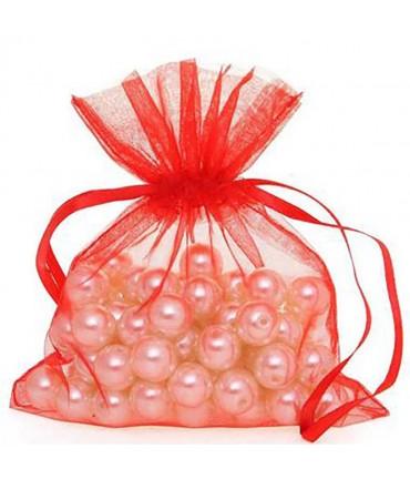 Sachets organza 13 x 17 cm pour bijoux ou dragées lot de 50 - Rouge