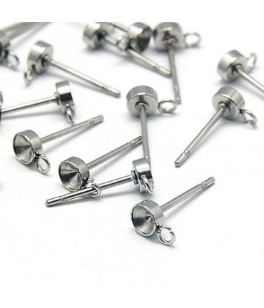 Clous d'oreilles support cabochon 13 x 4 mm (5 pièces)