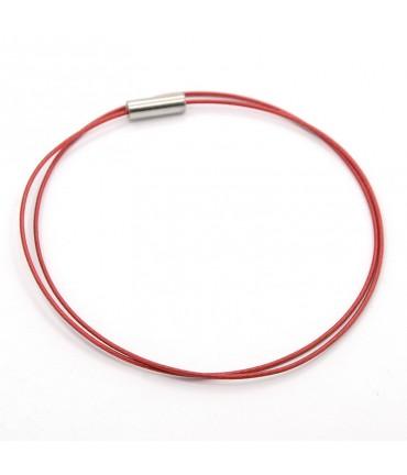 Colliers tours de cou fil cablé et fermoir à vis (5 pièces) - Rouge