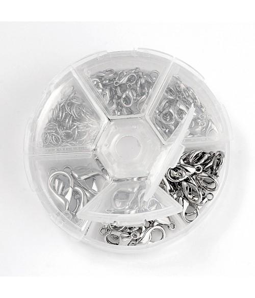 Kit fermoirs mousqueton gris 10 à 21 mm et anneaux (110 pièces)