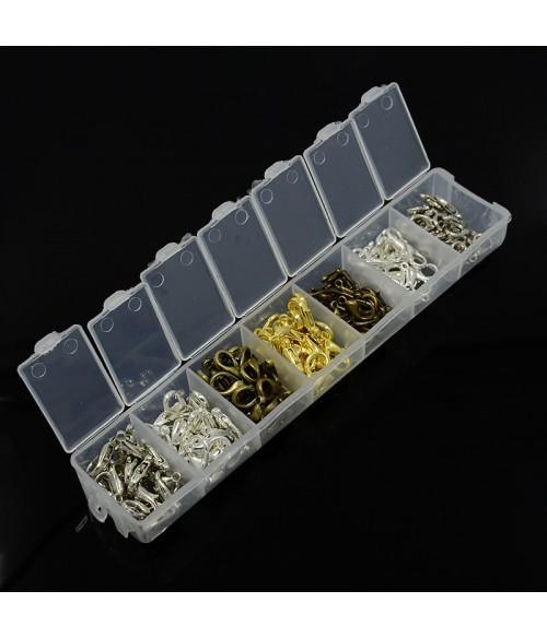 Kit fermoirs mousquetons 12 et 14mm en 4 couleurs (140 pièces)