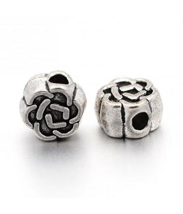 Perles fleur tibétaines en métal 4,5 x 3 mm - Argenté