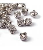 Perles toupie tibétaines en métal 6.5 x 7 mm
