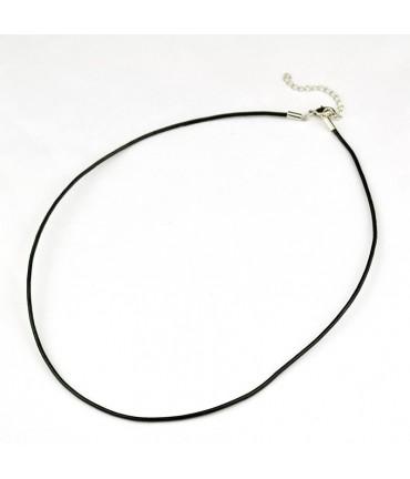 Colliers tour de cou 2 mm en cuir fermoir mousqueton (5 pièces) - Brun