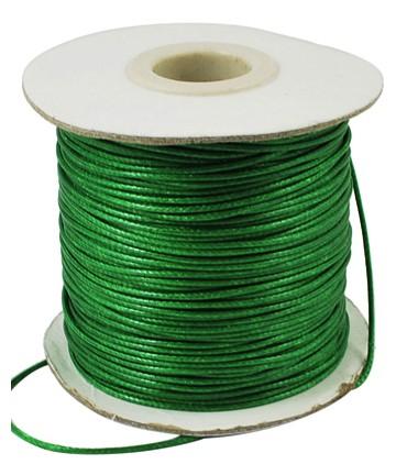 Fil coton ciré 1 mm en bobine de 80 mètres - Vert sapin