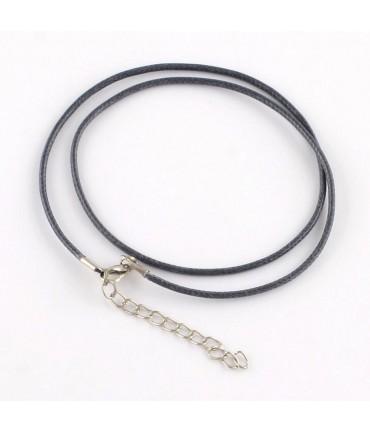 Colliers tour de cou 1,5 mm coton ciré fermoir mousqueton et chaînette (5 pièces) - Gris