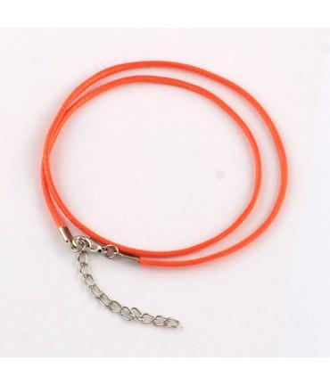 Colliers tour de cou 1,5 mm coton ciré fermoir mousqueton et chaînette (5 pièces) - Orange