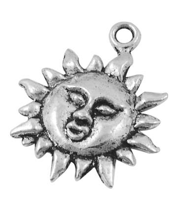 Breloque pendentif Soleil argenté Tibétain