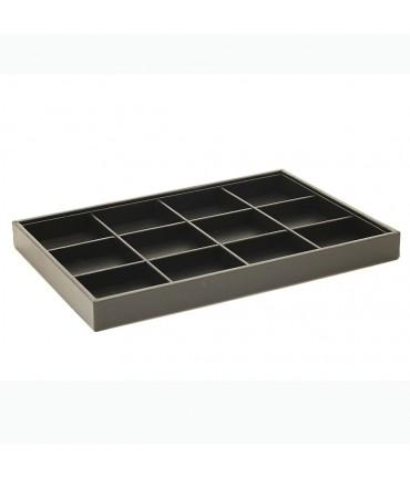 Plateau bijoux à 12 compartiments en simili cuir - Noir