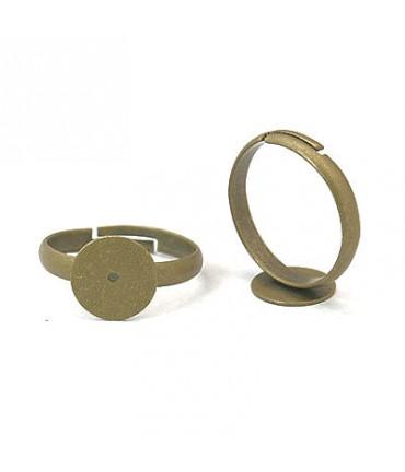 Support bague fimo réglable 18 mm tamis 10 mm (10 pièces) - Bronze