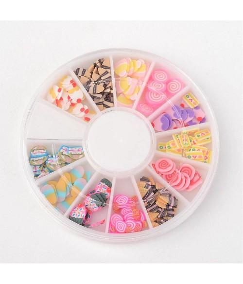 Boîte de tranches Fimo forme mixte ongles et bijoux (120 pièces)