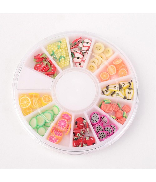 Boîte de tranches Fimo formes  mixtes fruits ongles et bijoux (120 pièces)