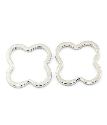 Anneaux porte clé trèfle (5 pièces) - Gris