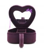 Coffret boîte à bijoux coeur violet velours
