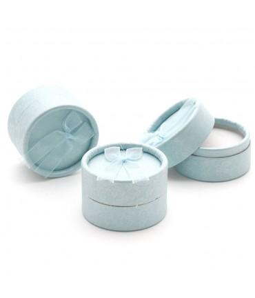 Ecrin pour bague rond avec nœud 5,5 cm (15 pièces) - Bleu clair