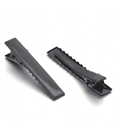 Pince crocodile barrette cheveux 35 x 7 mm ( 10 Pièces ) - Noir
