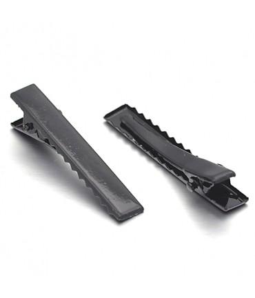 Pince crocodile barrette cheveux 45 x 8 mm (10 Pièces) - Noir