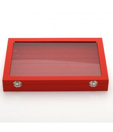 Coffret mallette pour bagues simili cuir rouge