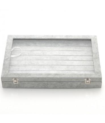 Coffret mallette pour bagues velours épais gris