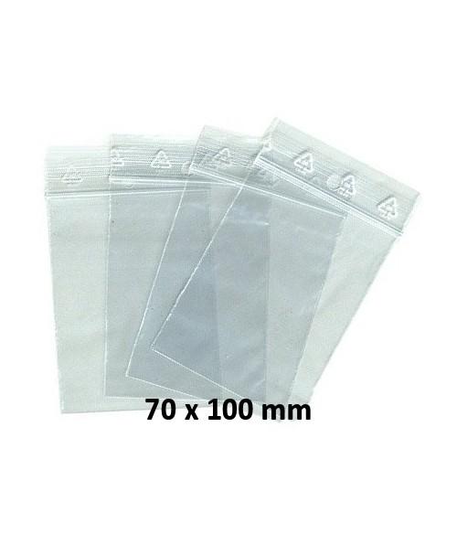 Sachets pochettes plastique zip 70 x 100 mm
