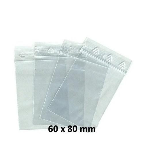 Sachets pochettes plastique zip 60x80 mm